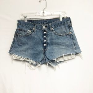 Levis 501 Button Fly Cutoff Distressed Shorts 32